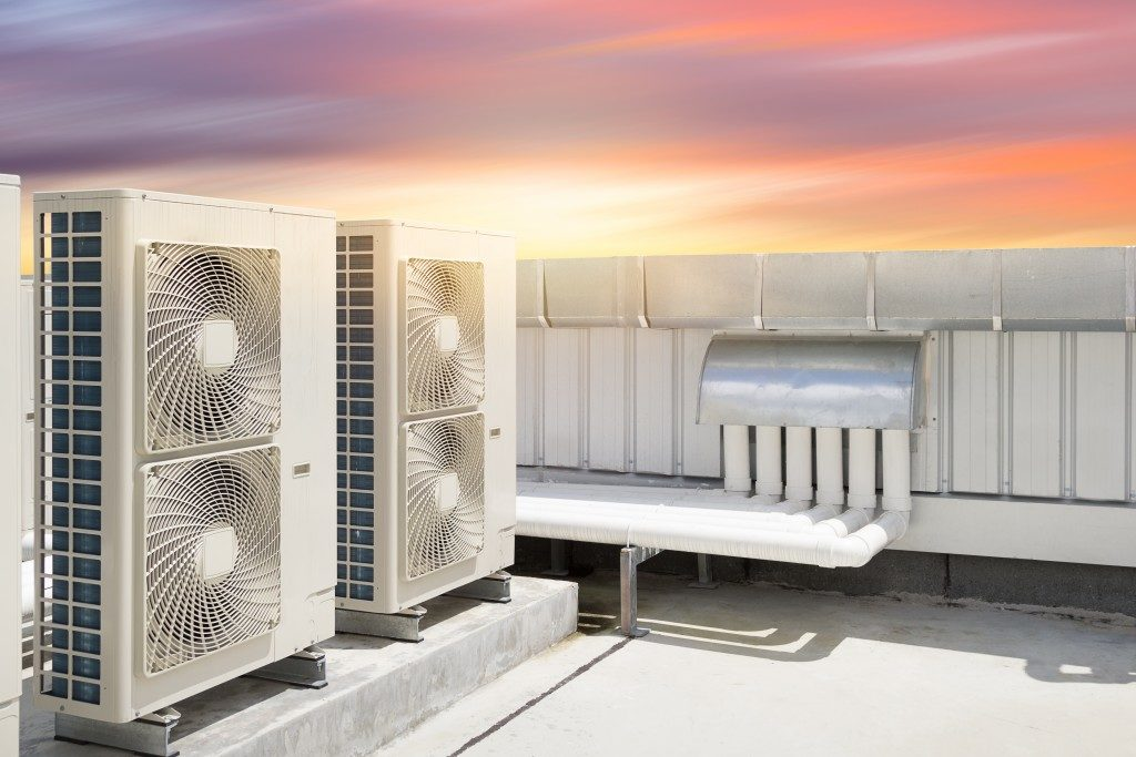 air conditioner system on roof deck