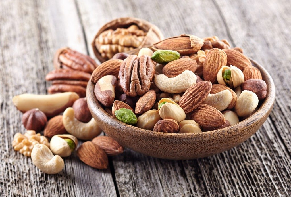 Different types of nuts in a bowl
