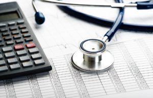 Calculator on a medical bill