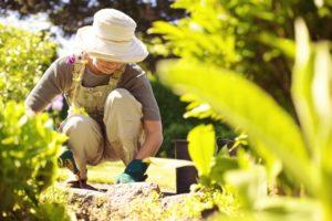 WOman with gardening tool working in her backyard garden