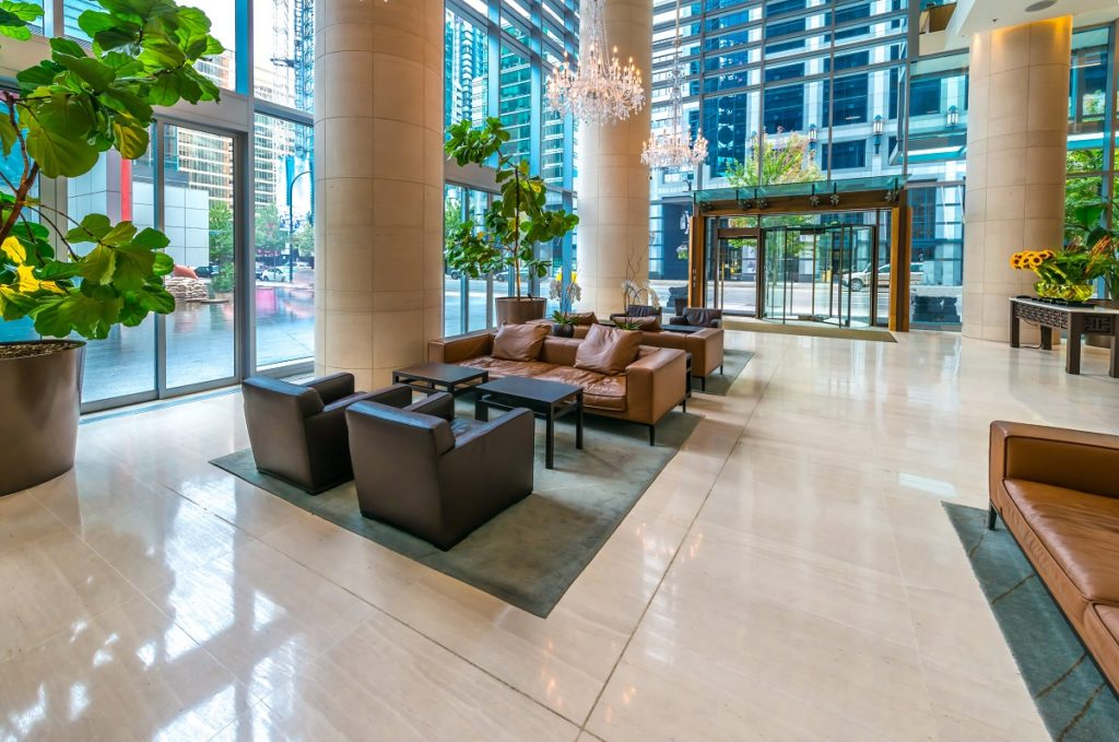 Modern lobby with chairs and tables