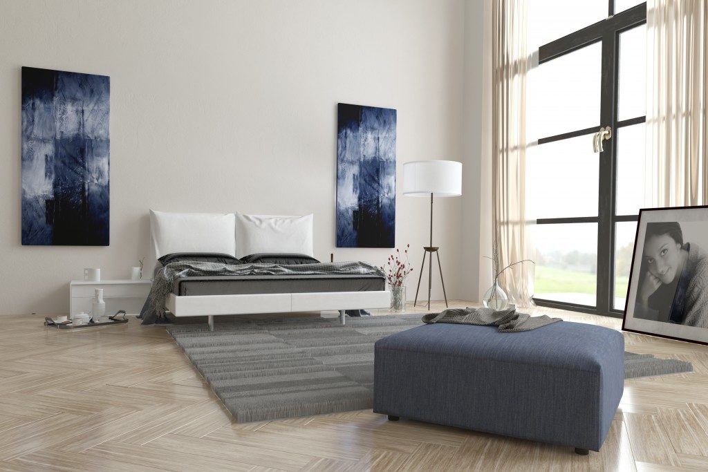 bedroom interior with abstract wall art