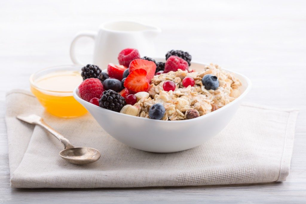 Oatmeal breakfast in a bowl