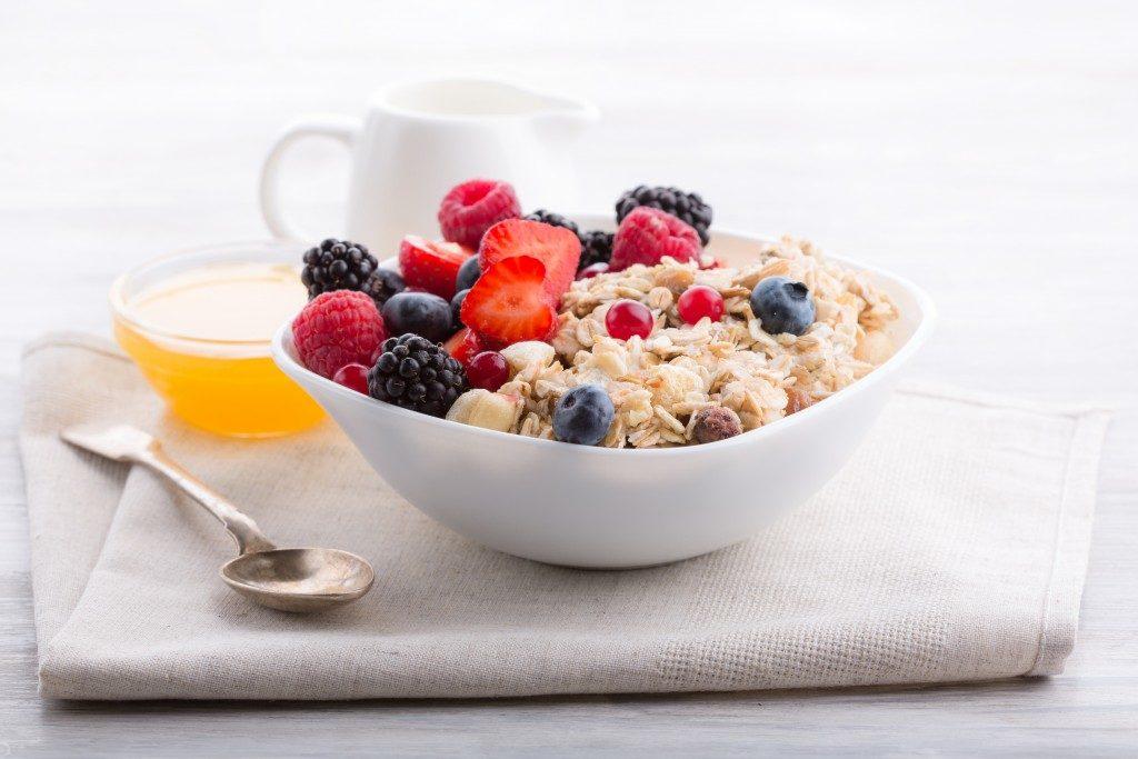 Oatmeal breakfast in a bowl