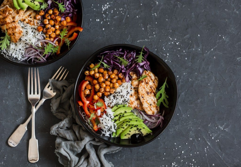 Healthy diet rice bowls
