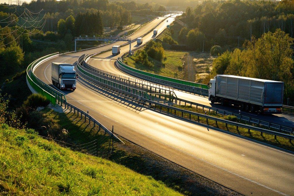 trucks along the freeway