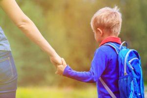 walking a child to school