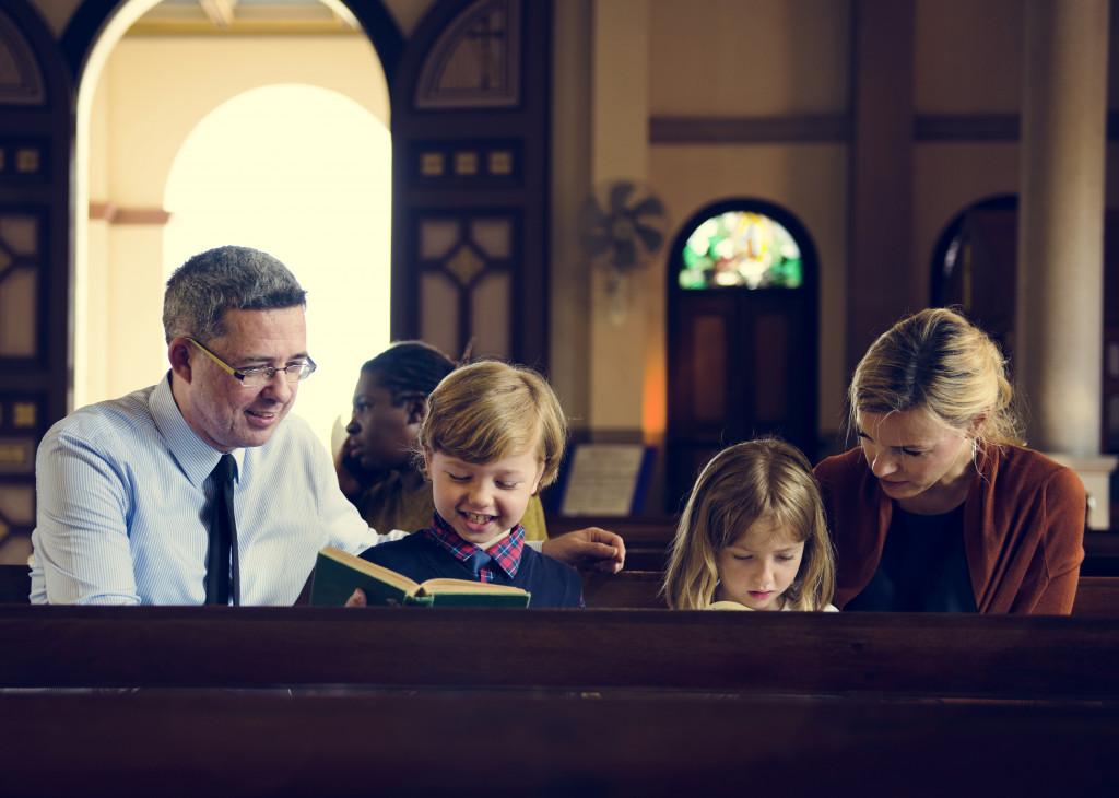 family going to worship