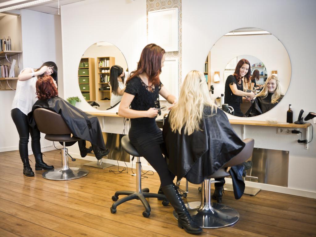 hair salon with customers