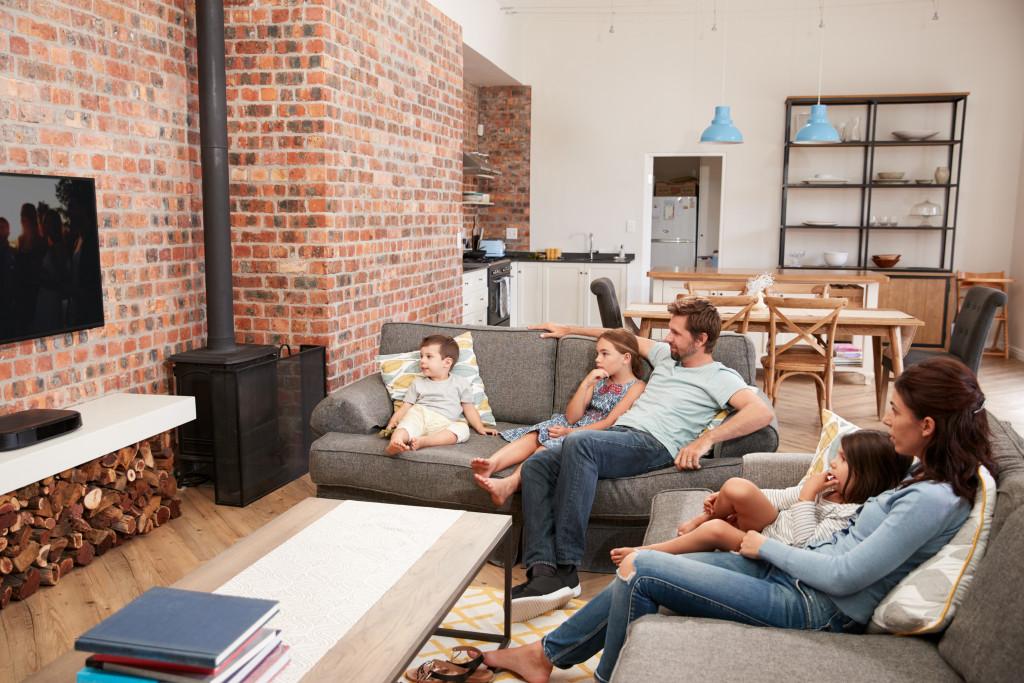 family gathered at the sofa
