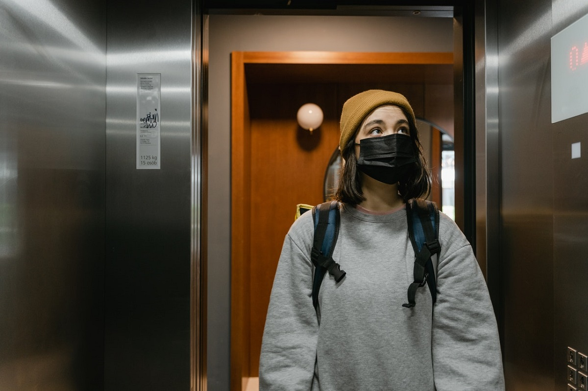 woman in the elevator